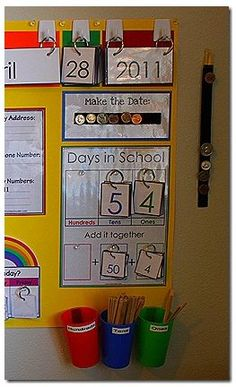 Classroom Calendar (kindergarten, preschool, daily calendar, center) Everything Flips. No more buckets of extra calendar numbers. Classroom Setting, Kindergarten Math, School Classroom, Classroom Activities, Teaching Math, Classroom Decor, Classroom Calendar, Calendar Time Kindergarten, 1st Grade Calendar