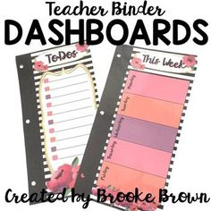 Write and wipe, EDITABLE DASHBOARDS created especially for your Teacher Binder!