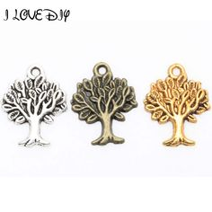 Wholesale 50 pcs/Lots Silver Zinc Alloy Metal Life of Tree Charms Pendants For Craft Making #Affiliate