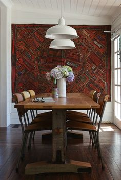Rugs as art. Or put a shimmering wedding blanket or sequined kilim on the wall to bounce the light everywhere. www.redthreadsouk.com