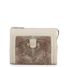 47% off Jason Wu - Leather Clutch Bag Daphne Astrakhan-Trim Taupe Grey - $1,000.00