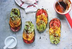 Basil Roasted Eggplant with Heirlooms + a Balsamic Drizzle | via With Food and Love
