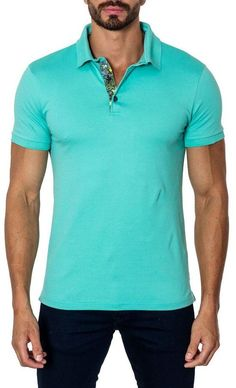 Jared Lang Short-Sleeve Cotton-Blend Polo Shirt, Turquoise