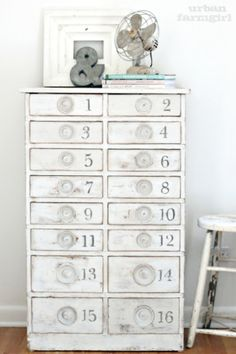 stamp numbers on an old cabinet ~