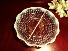 Moonstone Hobnail Divided Relish Dish by Anchor Hocking 1940s by VintageEves on Etsy