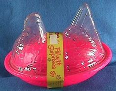 Vintage-Plastic-Easter-Candy-Container-Pink-CHICKEN-HEN-ON-NEST-Peoria ...