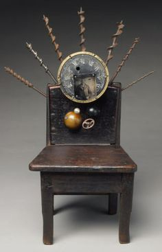 King Me the Second (chair, industrial clock, drill bits, tintype photograph, door knob, drawer pull, toy wheel, bead) 2004, James Michael Starr