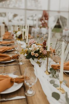 Wedding reception table set with fall colors Image from Alex Mari Photography . - Wedding reception table set with fall colors. Image by Alex Mari Photography – ∞ I ᗪO … ∞ - Wedding Reception Tables, Wedding Table Centerpieces, Wedding Table Settings, Wedding Flower Arrangements, Wedding Decorations, Wedding Ideas, Wedding Flowers, Wedding Reception Table Decorations, Wedding Receptions