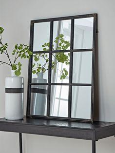 NEW Iron Window Mirror - Rectangular - Wall Mirrors - Mirrors Hall Mirrors, Hallway Mirror, Window Mirror, Oval Mirror, Iron Console Table, Industrial Mirrors, Square Windows, Iron Windows, Hallway Furniture