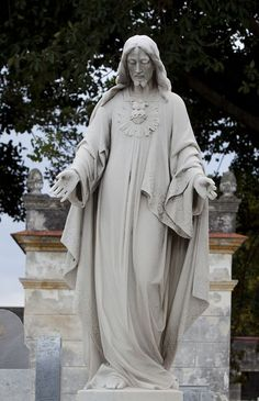 Sacred Heart of Jesus statue // Necrópolis Cristóbal Colón (Havana's Cemetery) has 131 years of history. Also known as Christopher Columbus Cemetery. It was built by Galician architect Calixto Areliano de Lorira y Cordoso. The first work in the cemetery began in 1871.// Credit line: The Carol M. Highsmith Archive, Library of Congress, Prints and Photographs Division.