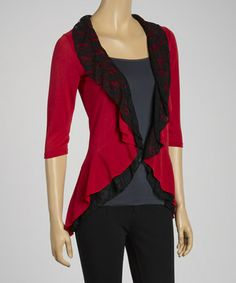 Look what I found on #zulily! Red Ruffle Open Cardigan #zulilyfinds