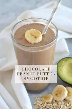 Chocolate Peanut Butter Smoothie, a quick and easy snack for the busy mom on the go! Smoothie Recipes
