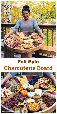 Fall Epic Charcuterie Board for casual entertaining filled with pumpkin treats best cheese and cured meats with fruits nuts and crackers! via Reluctant Entertainer Snacks Für Party, Appetizers For Party, Appetizer Recipes, Meat Appetizers, Simple Appetizers, Party Trays, Halloween Appetizers, Party Platters, Fall Snacks