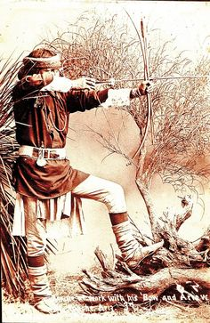 This 1880s cabinet photo taken at Arizona's Fort Apache features an Indian holding two arrows in his bow that looks to be a Self Bow, made of one piece from local wood, possibly willow, mesquite, cottonwood or juniper. His 1883 blue wool U.S. Army shirt and woven canvas cartridge belt indicate he may be a scout.  - Courtesy Phil Spangenberger Collection