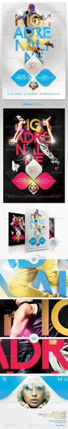 High Adrenaline Flyer Template /$6. ***This flyer is perfect for the promotion of club parties, shows, events, shops/boutiques, concerts, musicals, promotions or whatever you want!.***