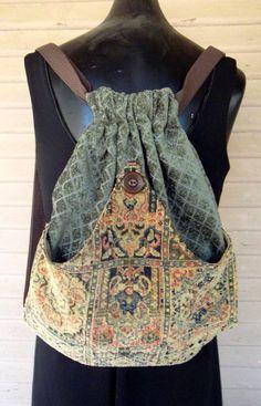 PatchworkTapestry Backpack Boho Backpack by piperscrossing Estilo Hippie, Boho Bags, Hippie Bags, Diy Handbag, Patchwork Bags, Denim Bag, Fabric Bags, Handmade Bags, Refashion