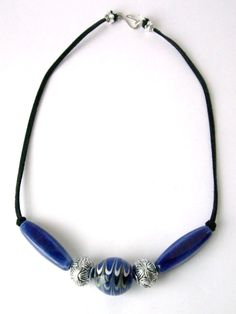 Porcelain and antique silver beaded necklace Cobalt Blue Beads Antique Silver plate beads Suede Cord Silver plate fishhook clasp - pinned by pin4etsy.com