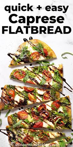 This Caprese flatbread takes just minutes to throw together and includes a crispy, flatbread crust, homemade spinach pesto, lots of fresh mozzarella cheese, ripe grape tomatoes and a tangy balsamic glaze along with fresh basil! Flatbread Appetizers, Easy Flatbread Recipes, Quick Vegetarian Dinner, Vegetarian Recipes, Cooking Recipes, Vegetarian Appetizers, Vegan Dishes, Food Dishes, Main Dishes