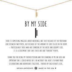 Shop Bryan Anthonys By My Side dainty wedding bridesmaids necklace.