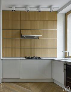 Кухня. Кухонная мебель Avance, Leicht, укомплектована встраиваемой техникой Siemens и Liebherr. Светильники Stove Track, Modular.