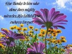 Give thanks to Him who alone does mighty miracles, His faithful love endures forever.
