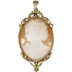 Hand Carved Left Facing Natural Shell Cameo Pendant 14k Gold