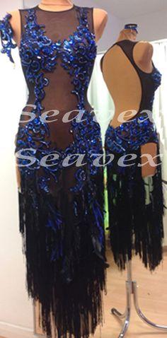 Ballroom Latin Salsa Rumba Ice Skating US6 Dance Dress L2548 Black Fringes Lace   eBay