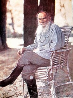 A 79-year-old Leo Tolstoy sits for the first ever colour photograph taken in Russia - May 1908