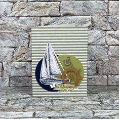 Stampin' Up! July 2019 Alternative Paper Pumpkin Card also using the Sail Away Trinkets. Handmade Birthday Cards, Handmade Cards, Stampin Up Paper Pumpkin, Pumpkin Cards, Wink Of Stella, Circle Punch, Sail Away, Ink Pads, Masculine Cards