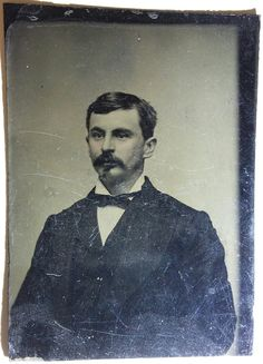 Virgil Walter Earp --- appearing here on a plate tintype. Original image from the collection of P. Virgil Earp, Michael Doyle, Cyber Forensics, Old West Photos, Tombstone Arizona, Weapon Storage, Wyatt Earp, Doc Holliday, Thing 1