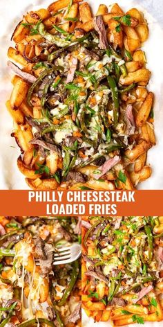 Your favourite sandwich reimagined! Philly Cheesesteak Loaded Fries are deliciously indulgent. Juicy steak strips, green pepper and onions are piled high on top of golden fries, then smothered with melty cheese. Perfect for a game night!