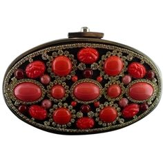 Pre-owned Aristotle Black/red Coral/silver Clutch featuring polyvore, women's fashion, bags, handbags, clutches, convertible handbag, chain shoulder bag, shoulder bag purse, shoulder handbags and silver studded purse
