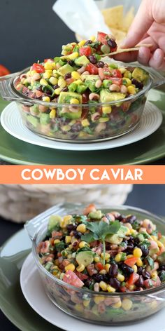 Easy Cowboy Caviar Cowboy Caviar is a chunky salsa-type chip dip with beans, avocado, tomatoes, corn and a zesty dress Mexican Food Recipes, Vegetarian Recipes, Cooking Recipes, Healthy Recipes, Ethnic Recipes, Avocado Recipes, Italian Recipes, Cooking Tips, Great Appetizers