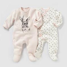 Lote de 2 pijamas em moletão, 0 meses-3 anos R baby