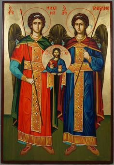High quality hand-painted Orthodox icon of Synaxis Of The Holy Archangels. BlessedMart offers Religious icons in old Byzantine, Greek, Russian and Catholic style. Byzantine Icons, Byzantine Art, Religious Icons, Religious Art, Catholic Art, Catholic Traditions, Roman Catholic, Church Icon, Paint Icon