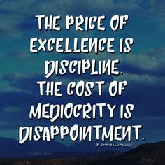 The price of excellence is discipline. The cost of mediocrity is disappointment. #quotes #motivation #instagram