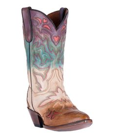 Take a look at this Purple & Brown Heart Leather Cowboy Boot - Women today!