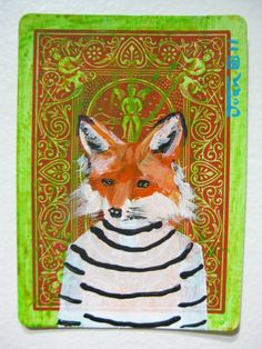 Portrait of a fox. N9 ACEO's card 2.5x3.5 original by JuanStar2