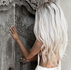Icy blonde long hair