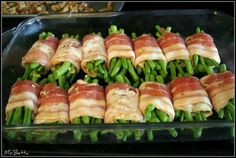 Bacon-Wrapped Green Beans: 1 hour at 375, cover beans with soy sauce, brown sugar and butter! Yum!