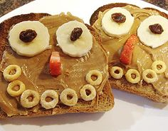 Happy Toast: By using fruit and whole-grain cereal to create a happy face, you get a good laugh, along with some great nutrition. Bet it gets your kids smiling, too!