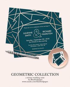 A modern and contemporary geometric wedding set, features a gold rose geometric pattern over a dark…