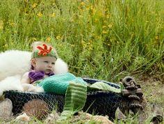 Crocheted Mermaid Costume — Tail, Bikini, Starfish Headband   Geek-a-bye Baby