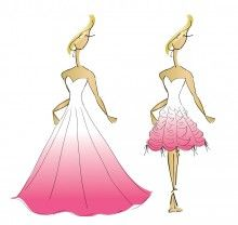 Sketch of a Custom Convertible Wedding Dress with Pink to White Ombre.