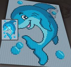(4) Name: 'Crocheting : Playful Dolphin C2C Graph