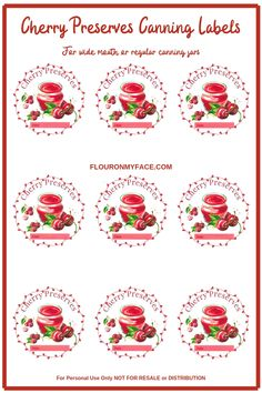 Custom Designed Cherry Preserves Canning Label preview Canning Jar Labels, Canning Recipes, Cherry Recipes, Jelly Recipes, Fruit Preserves, Homemade Pickles, Sweet Cherries, Veggies, Packaging