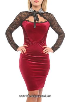 Bodycon Samt und Seide Büro Kleid Kathrina Rot