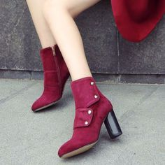 Boots - Burgundy Gaiter Suede square high heels ankle boots @shoesofexception #gaiter #fashion #ankle #boots