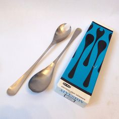 Old Hall Alveston by Robert Welch Salad Servers. Boxed 1960s stainless steel 18/8 serving spoon and fork/cutlery. Mid century Modern/Vintage by CocoCollectables on Etsy