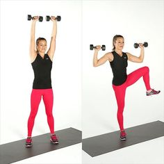 Standing Ab Exercises With Weights | Shoulder Press & Side Crunch